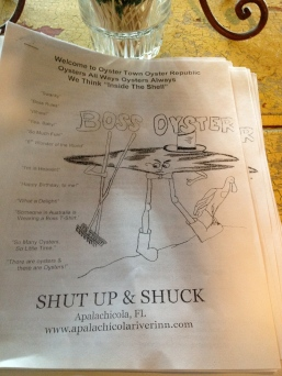 Boss Oyster menu, Apalachicola