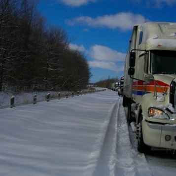 Stopped by a 30 car pile-up and 7 jack-knifed semis up ahead